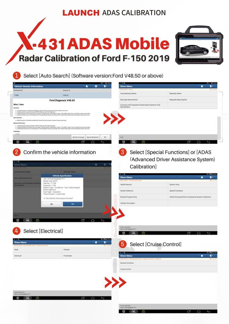 How-to-Use-Launch-X431-PAD-VII-to-Do-ADAS-Radar-Calibration-on-Ford-F-150-2019-1